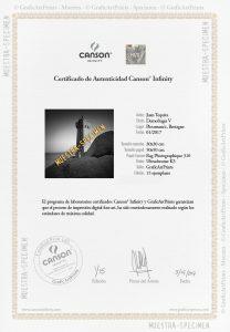 Certificado autenticidad Canson Infinity de GraficArtPrints © GraficArtPrints