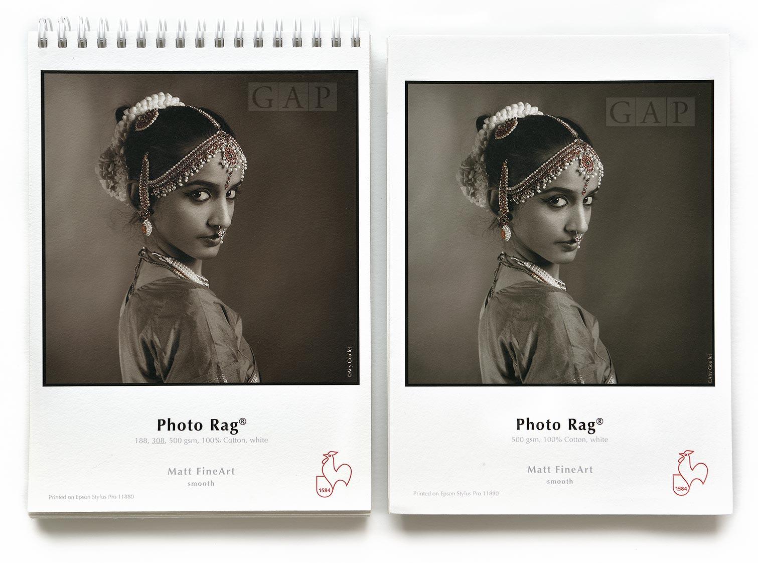 Muestras impresas de Hahnemühle PhotoRag