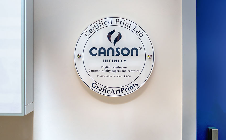 Canson Infinity Certified Print Lab certificate from GraficArtPrints, giclee prints